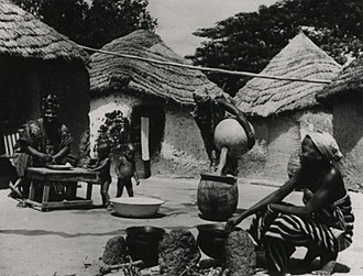 History of Ghana - A typical Dagomba household comprising husband, wife and three children in Yendi, 1957