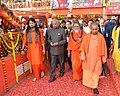 The President, Shri Ram Nath Kovind during his visits to Triveni Sangam and Lette Hanumanji Mandir, at Allahabad, in Uttar Pradesh on December 16, 2017. The Chief Minister, Uttar Pradesh, Yogi Adityanath is also seen.jpg