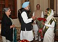 The Prime Minister, Dr. Manmohan Singh and his wife Smt. Gursharan Kaur greeted the President, Smt. Pratibha Devisingh Patil, on her 76th Birthday, at Rashtrapati Bhavan, in New Delhi on December 19, 2010.jpg