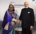 The Prime Minister, Shri Narendra Modi meeting the Prime Minister of Bangladesh, Ms. Sheikh Hasina, on the sidelines of CHOGM 2018, in London on April 19, 2018.JPG