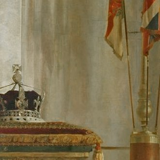 Crown of Queen Elizabeth The Queen Mother - The crown in a portrait of The Queen Mother