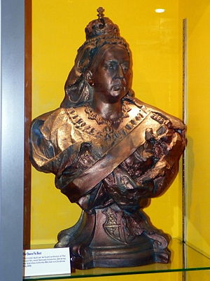 The Queen Victoria - The Queen Victoria's bust of Queen Victoria (pictured on display at the Elstree and Borehamwood Museum) was used from 1993 until 2010 and 2012 onwards.