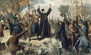 Second Serbian Uprising - The Uprising at Takovo, by Vinzenz Katzler, 1882.