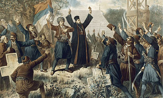 Second Serbian Uprising - The Uprising at Takovo, by Vinzenz Katzler, 1882