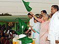 The Union Minister for Railways, Kumari Mamata Banerjee flagging off the 'Commonwealth Express' Train, in New Delhi on June 24, 2010.jpg