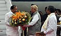 The Vice President, Shri M. Venkaiah Naidu being received by the Governor of Karnataka, Shri Vajubhai Vala and the Chief Minister of Karnataka, Shri Siddaramaiah, on his arrival, in Bengaluru, Karnataka on September 26, 2017.jpg