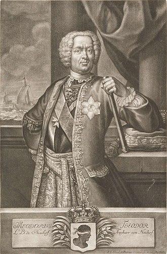 Theodore of Corsica - Theodor von Neuhoff (mezzotint by Schad ca. 1740). Note use of Moor's head.