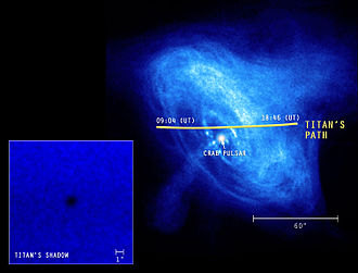 Crab Nebula - Chandra image showing Saturn's moon Titan transiting the nebula.