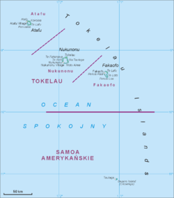 Map of all Tokelau Islands. Swains Island is shown to the south.