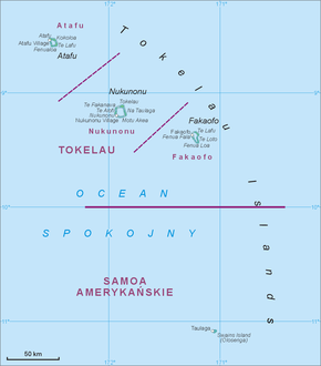 Map of all Tokelau Islands, including Swains Island to the south