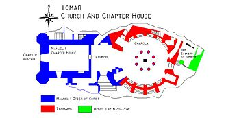 Convent of Christ (Tomar) - Floorplan of the church of the Convent of Christ. The Templar round church (late 12th century) is indicated in red, while the manueline nave (early 16th century) is in blue.