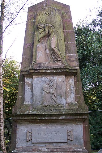 Mary Campbell (Highland Mary) - Monument erected in 1842 over the grave of Highland Mary in the old West Kirkyard, Greenock