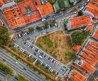 Chinatown, Singapore - Topdown look of a carpark near Club Street