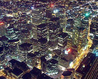 Downtown Toronto - Aerial view of the Financial District from the CN Tower at night