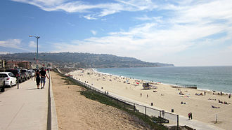 Torrance, California - Torrance Beach with the Palos Verdes Peninsula in the background.