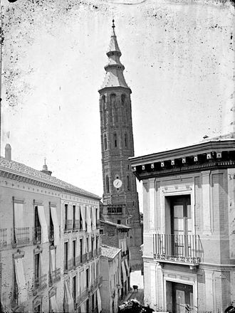 Jean Laurent (photographer) - Zaragoza, Torre Nueva (c. 1875). This tower was demolished in 1892-1893. It was a clock tower, built of brick in the Mudéjar style in the early sixteenth century