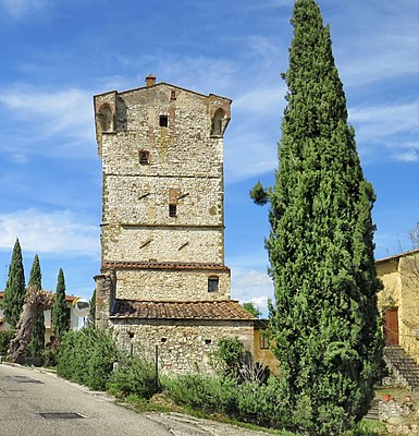 Tower of Pian dell'Isola in Rignano sull'Arno dating back to the year 1100 AD. About