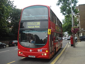 London Buses route 28 - Tower Transit Wright Eclipse Gemini bodied Volvo B7TL on Kensington High Street in September 2013