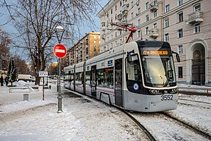 Trams in Moscow - Image: Tram Pesa Twist 71 414 in MSK (img 1)