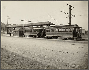 Boston College (MBTA station) - Boston Elevated Railway trams at Lake Street in March 1900