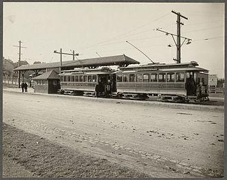 Boston College (MBTA station) - Boston Elevated Railway trams at Lake Street in March 1900