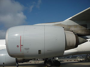 Rolls-Royce Trent 500 - A Trent 500 turbofan mounted on an Airbus A340-600 of Lufthansa.