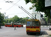 Trolleybuses in front of the St. Sophia Cathedral.
