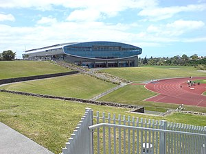 The Trusts Stadium from Central Park Drive.