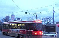 A TTC streetcar on Dundas Street.