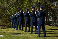 U.S. Airmen with the Hill Air Force Base Honor Guard fire three rifle volleys during the funeral service for a fallen Airman Oct. 26, 2013, near Ogden, Utah 131026-F-SP601-077.jpg