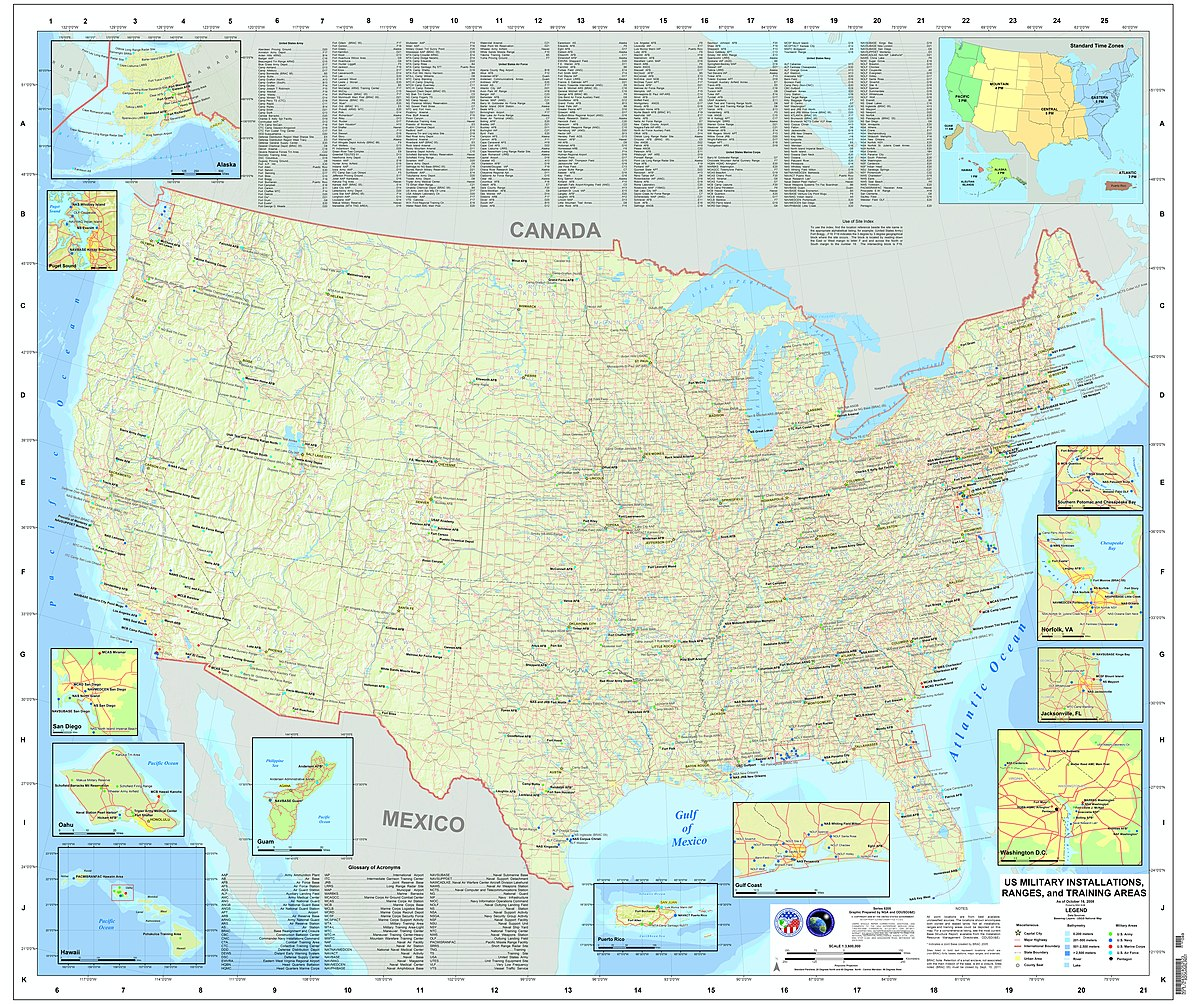 List Of United States Military Bases Wikipedia - Map of us military bases in usa