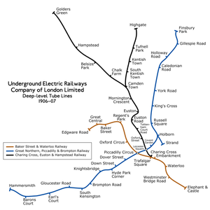 London Electric Railway - The UERL's three deep-level tube railways that were merged into the London Electric Railway