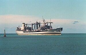 USNS Kawishiwi (T-AO-146) enters Pearl Harbor on 1 June 1991