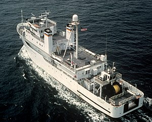Stalwart-class ocean surveillance ship - Stalwart as originally configured. Aft view of equipment for the Surveillance Towed-Array Sensor System (SURTASS), 1986.