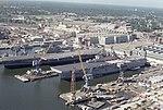 USS Coral Sea (CV-43) and Wasp (LHD-1) at Norfolk NS 1990.JPEG