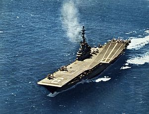 Lead ship - Image: USS Essex (CVA 9) underway c 1956