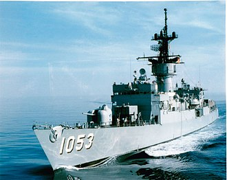 """USS Roark (FF-1053) - Roark in the South Pacific during """"SouthPac 79"""", February 1979."""