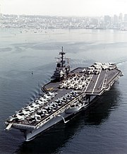 USS Ranger (CV-61) departing San Diego, in February 1987 (NH 97689-KN)
