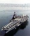 USS Ranger (CV-61) departing San Diego, in February 1987 (NH 97689-KN).jpg