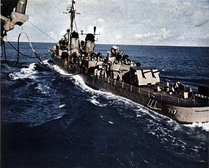 USS T.E. Chandler (DD-717) refueling from USS Essex (CVA-9) c1956.jpg