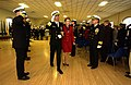 US Navy 021212-N-2383B-755 Vice Admiral Michael D. Haskins, Naval Inspector General is rendered honors as the Admiral and his wife are piped ashore at the conclusion of his traditional Navy retirement ceremony held indoors at t.jpg