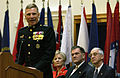 US Navy 030123-N-2383B-556 Commandant of the Marine Corps CMC General Michael W. Hagee makes remarks on behalf of departing Secretary of the Navy SECNAV Gordon R. England.jpg