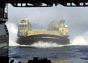 USS Kearsarge (LHD-3) - A Landing Craft Air Cushion returns to the well deck