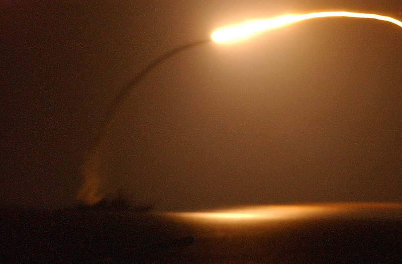 The Mediterranean Sea (Mar. 27, 2003) -- The guided missile destroyer USS Winston S. Churchill (DDG 81) launches a Tomahawk Land Attack Missile (TLAM) toward Iraq