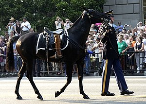 US Navy 040609-N-5471P-013 Symbolic of a fallen leader who will never ride again, the Caparisoned horse is led down Constitution Ave., following the Caisson carrying the body of former U.S. President Ronald Reagan