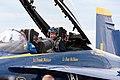 US Navy 080716-N-3607D-006 Minnesota Vikings' head coach, Brad Childress, and Marine Corps Major Nathan Miller, complete a demonstration flight.jpg