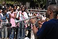 US Navy 090204-N-1688B-225 Musician 2nd Class Antonio Rice plays the trumpet for students of Lycee Abdoulaye.jpg