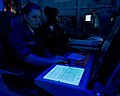 US Navy 090719-N-4519D-316 Air Traffic Controller 2nd Class Amber Rathbone, left, and Air Traffic Controller 3rd Class Carla Perryman monitor the Case 1 Marshall aboard the aircraft carrier USS Carl Vinson (CVN 70).jpg