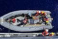 US Navy 090917-N-7478G-126 Sailors assigned to the amphibious command ship USS Blue Ridge (LCC 19) hoist a rigid hull inflatable boat after a simulated man overboard drill.jpg