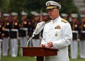 US Navy 100714-N-8132M-185 Chief of Naval Operations Adm. Gary Roughead speaks during a full honors arrival ceremony for Brig. Gen. Abdulla Saeed Al Mansoori at the Washington Navy Yard.jpg